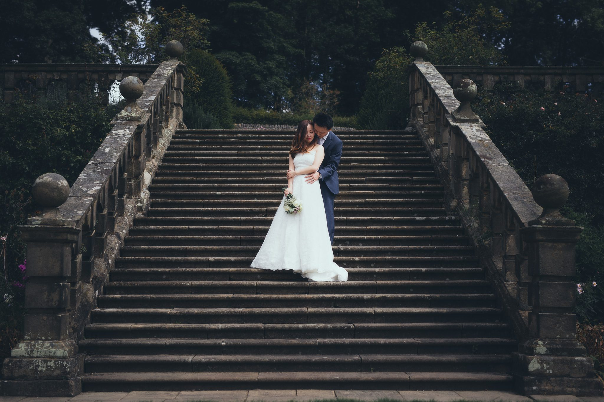 Summer Wedding at Haddon Hall - The couple on the stairs