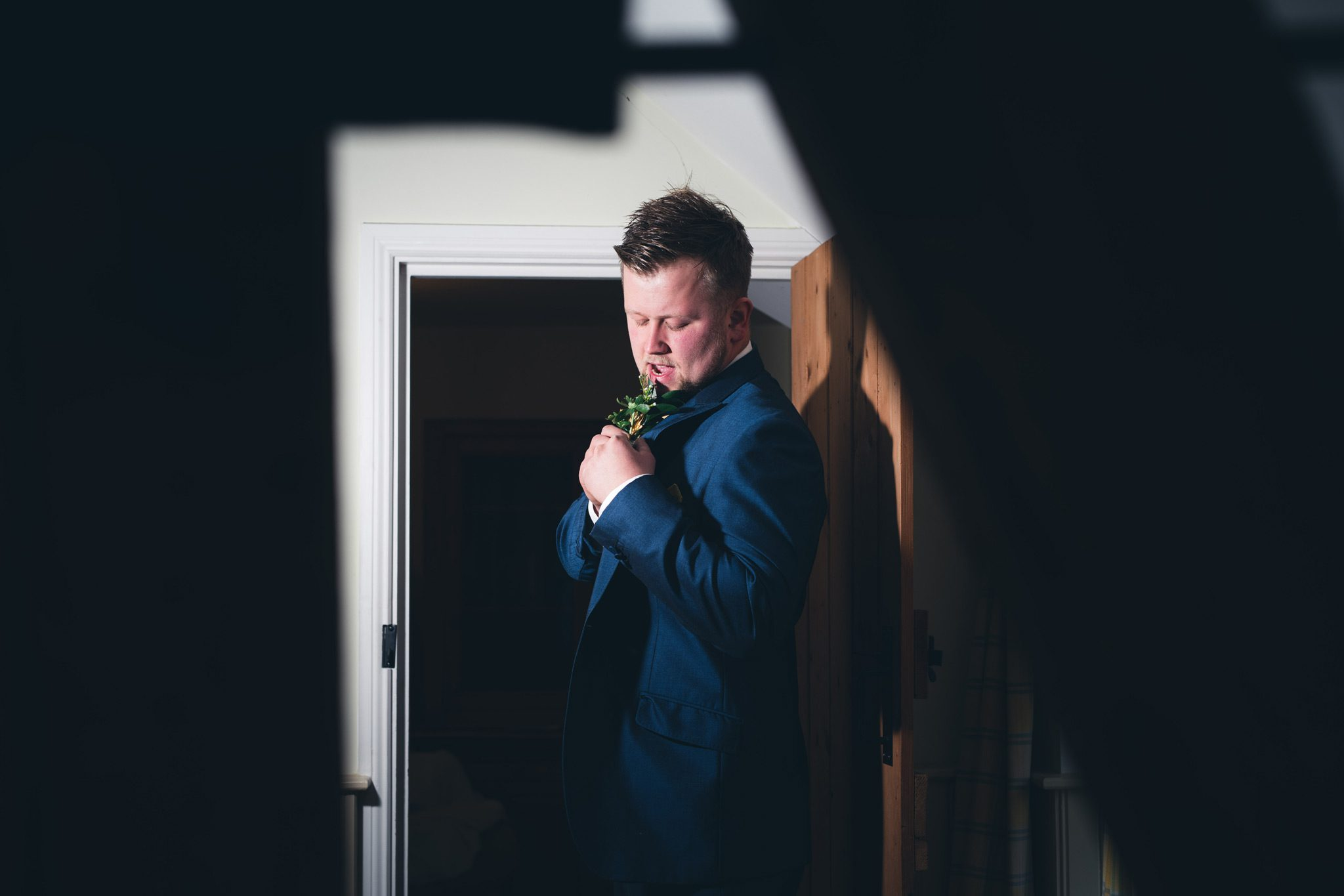 Groom Getting Ready at Yeldersley Hall