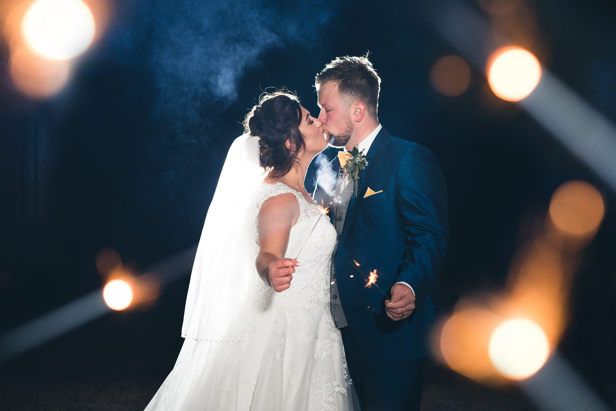Couple with sparklers