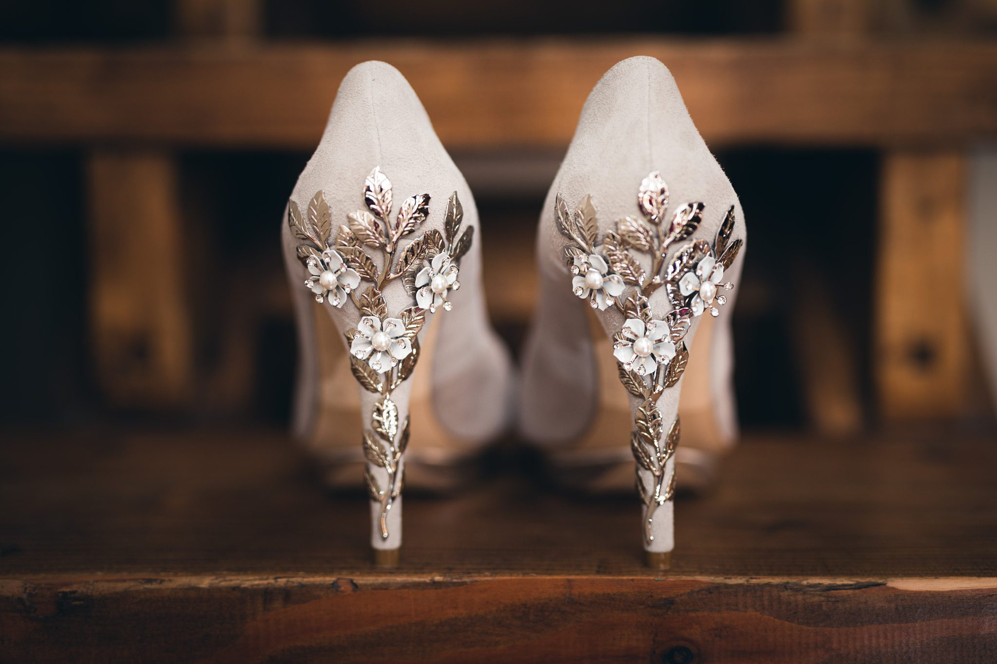 amazing detail on the heel of Harriet Wilde wedding shoes
