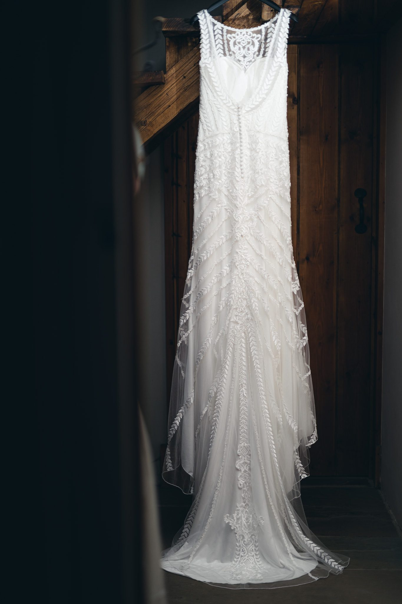 the back of a Lillian West wedding dress