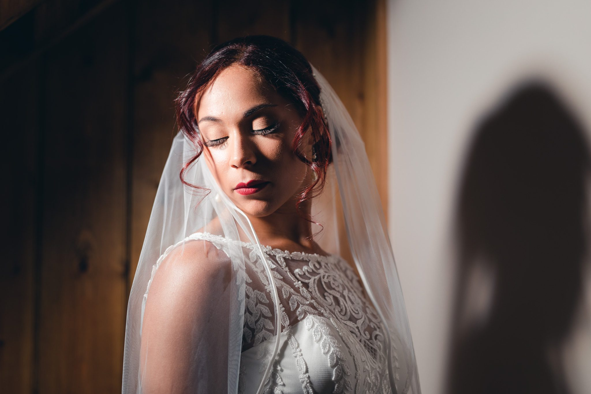 the bride looking calm during her close up bridal portraits