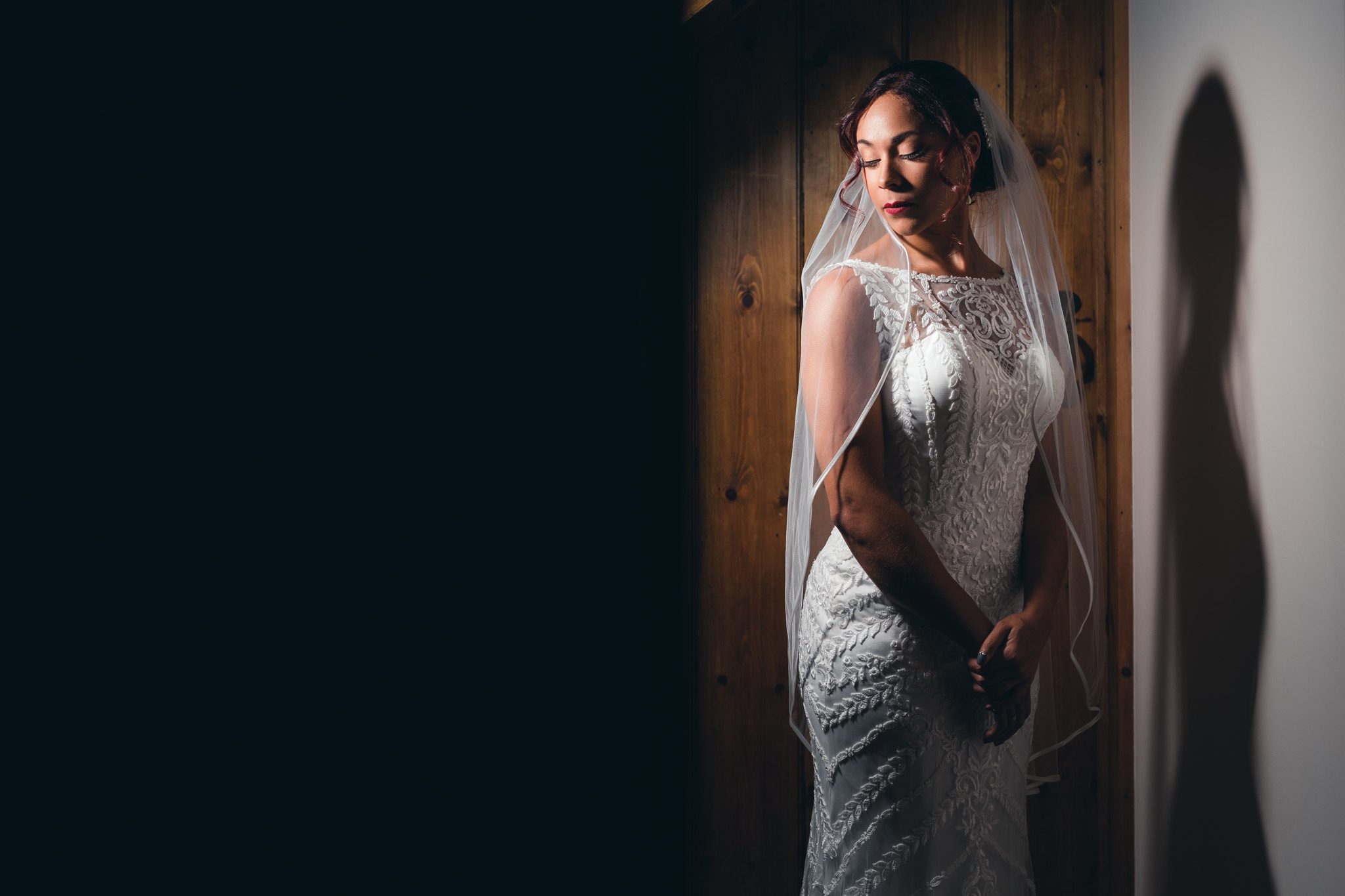 the bride looking calm during her bridal portraits