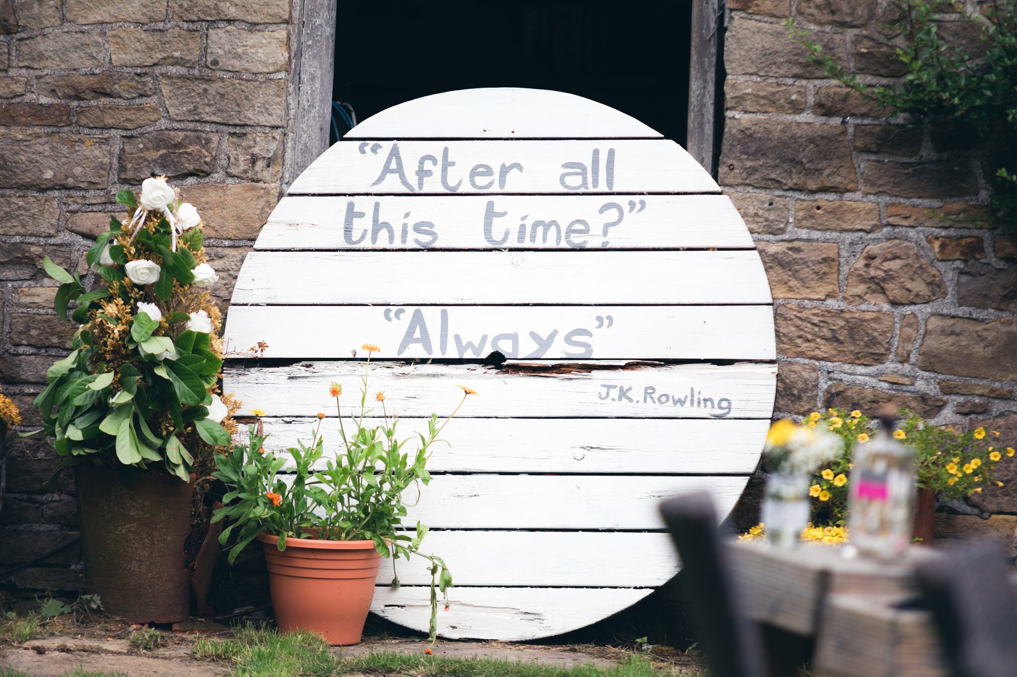 Harry Potter quote on a hand painted sign - after all this time, always
