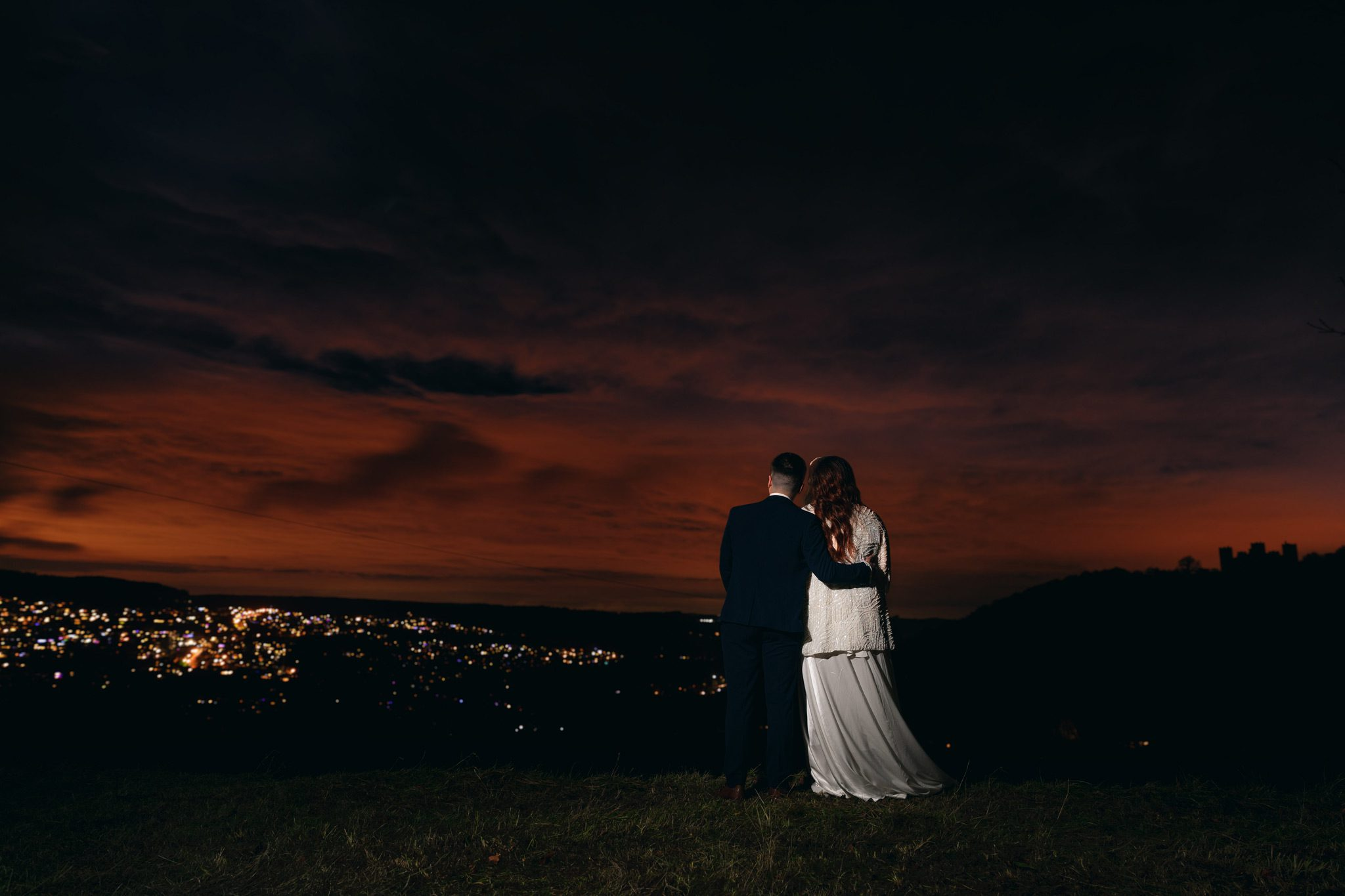 Bride and Groom looking over Matlock