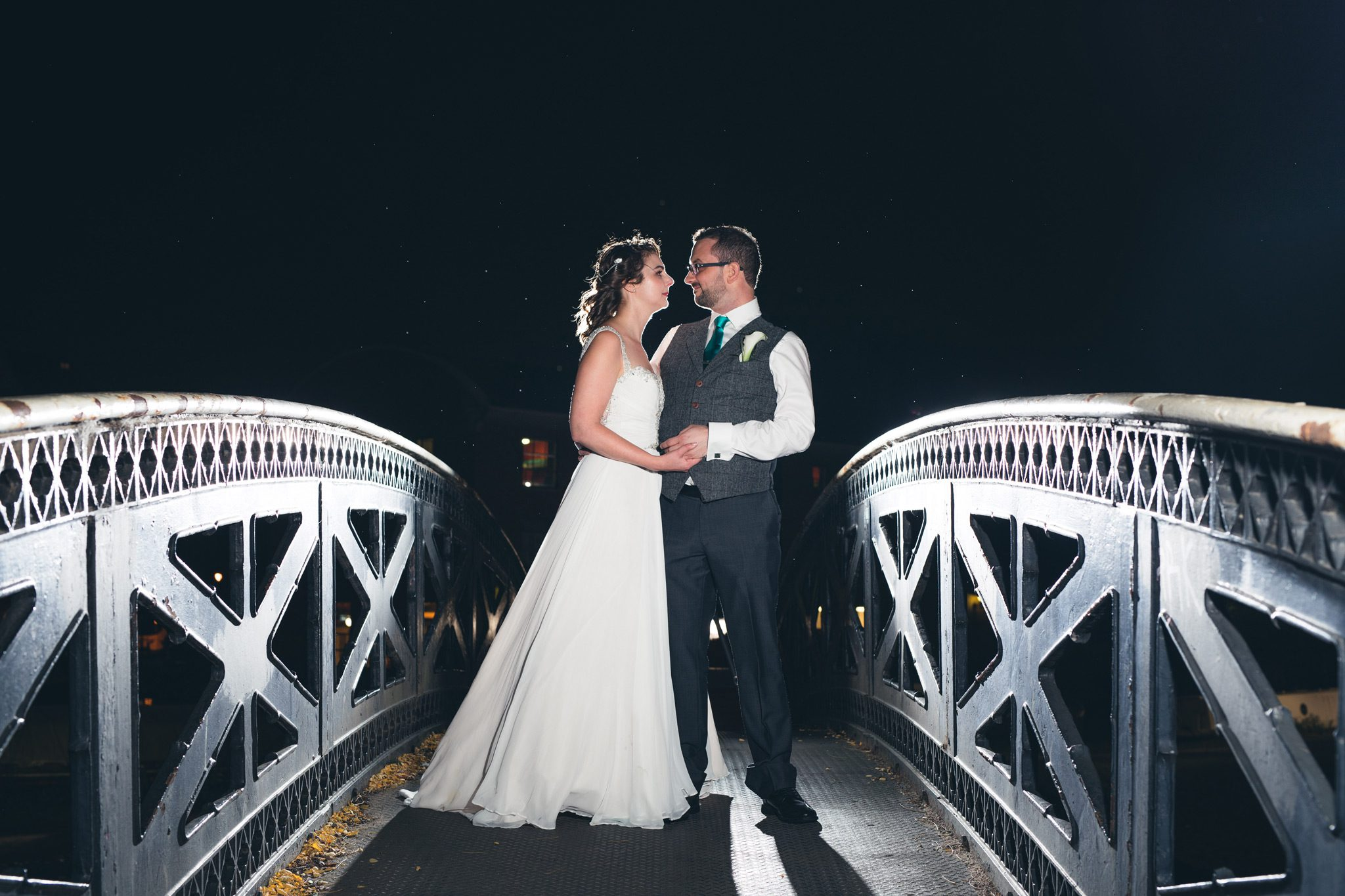 Couple on the bridge in Manchester