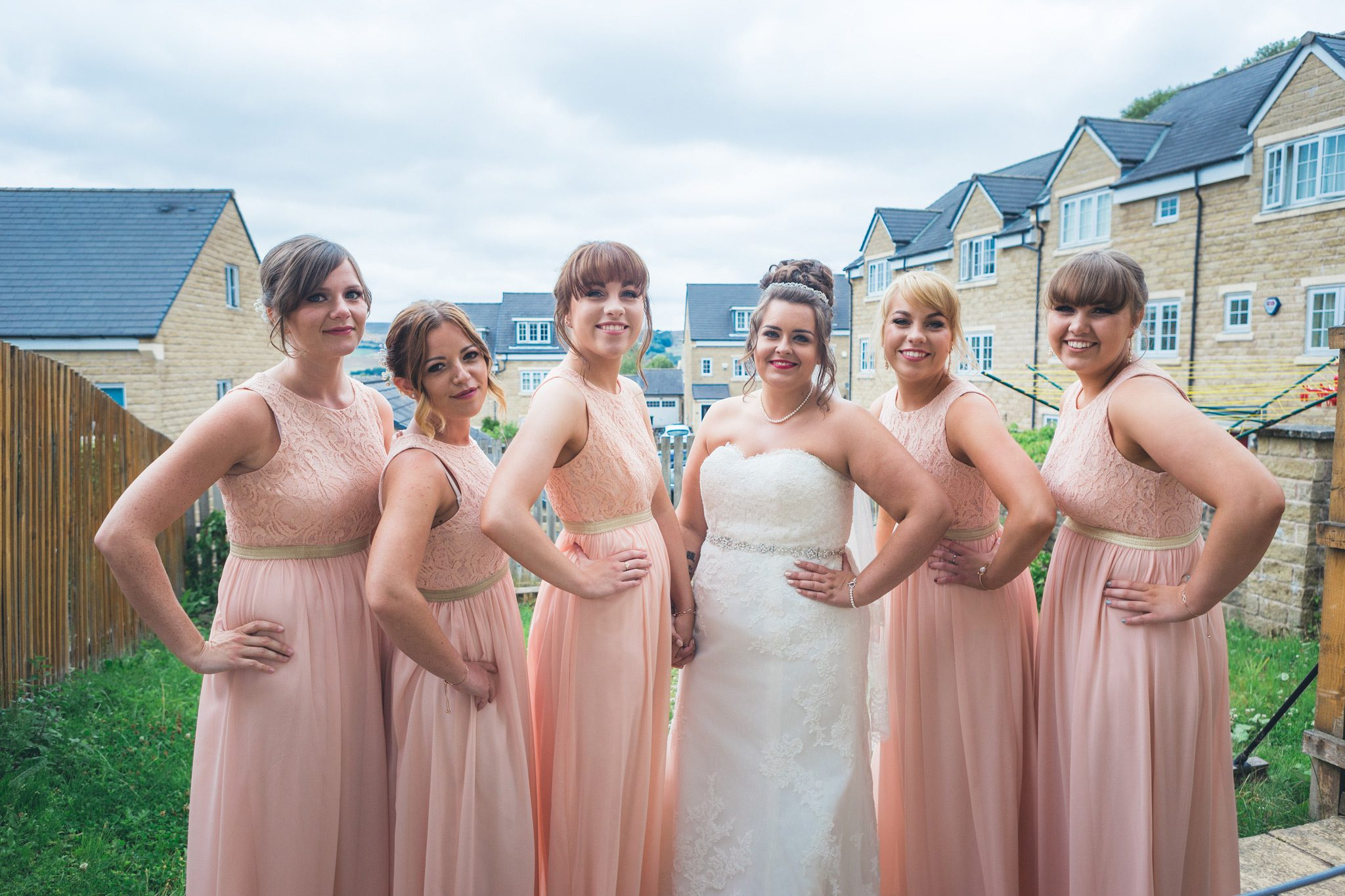 Bride and bridesmaids all dressed up