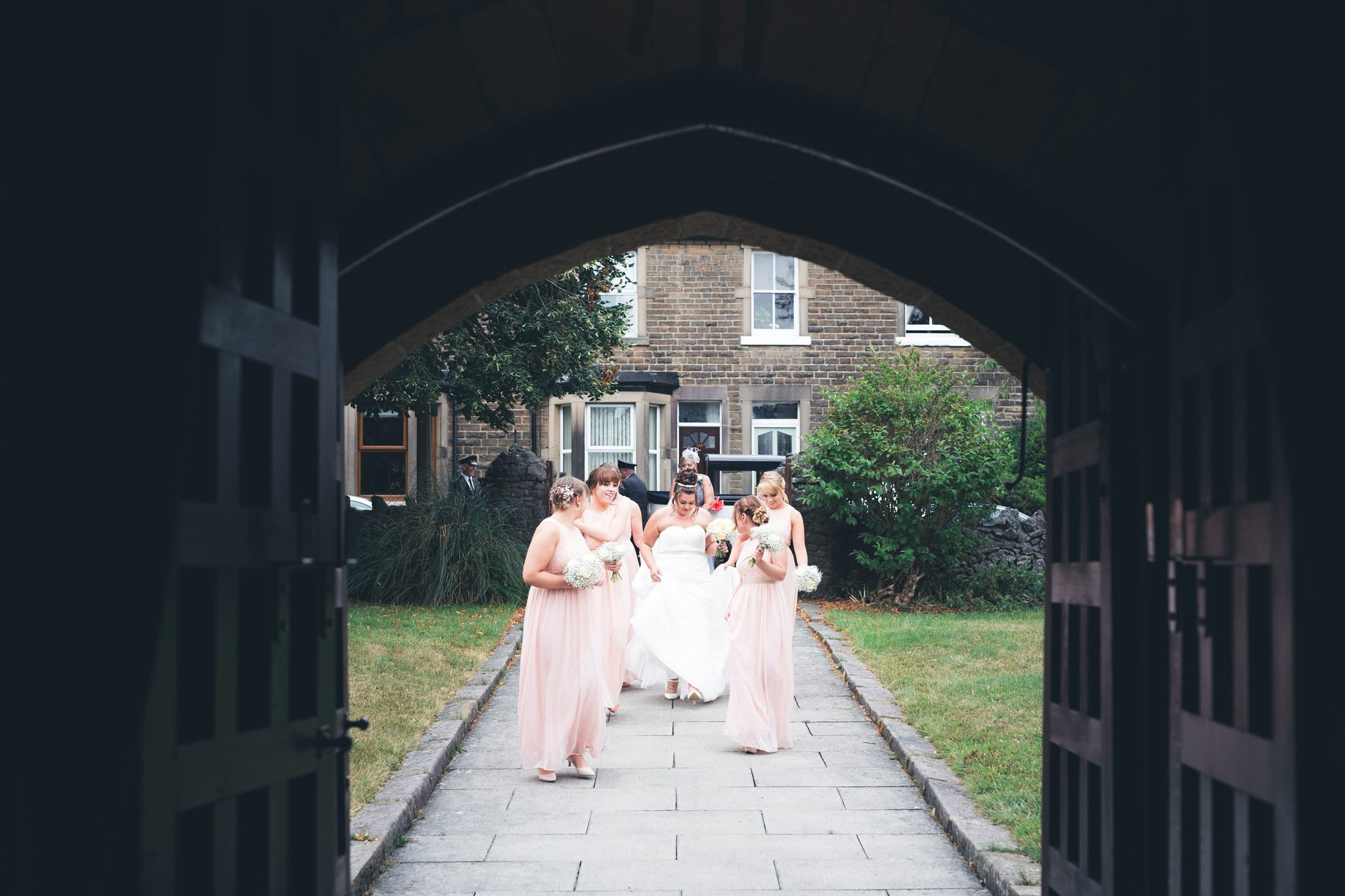 Bridal party at the buxton church