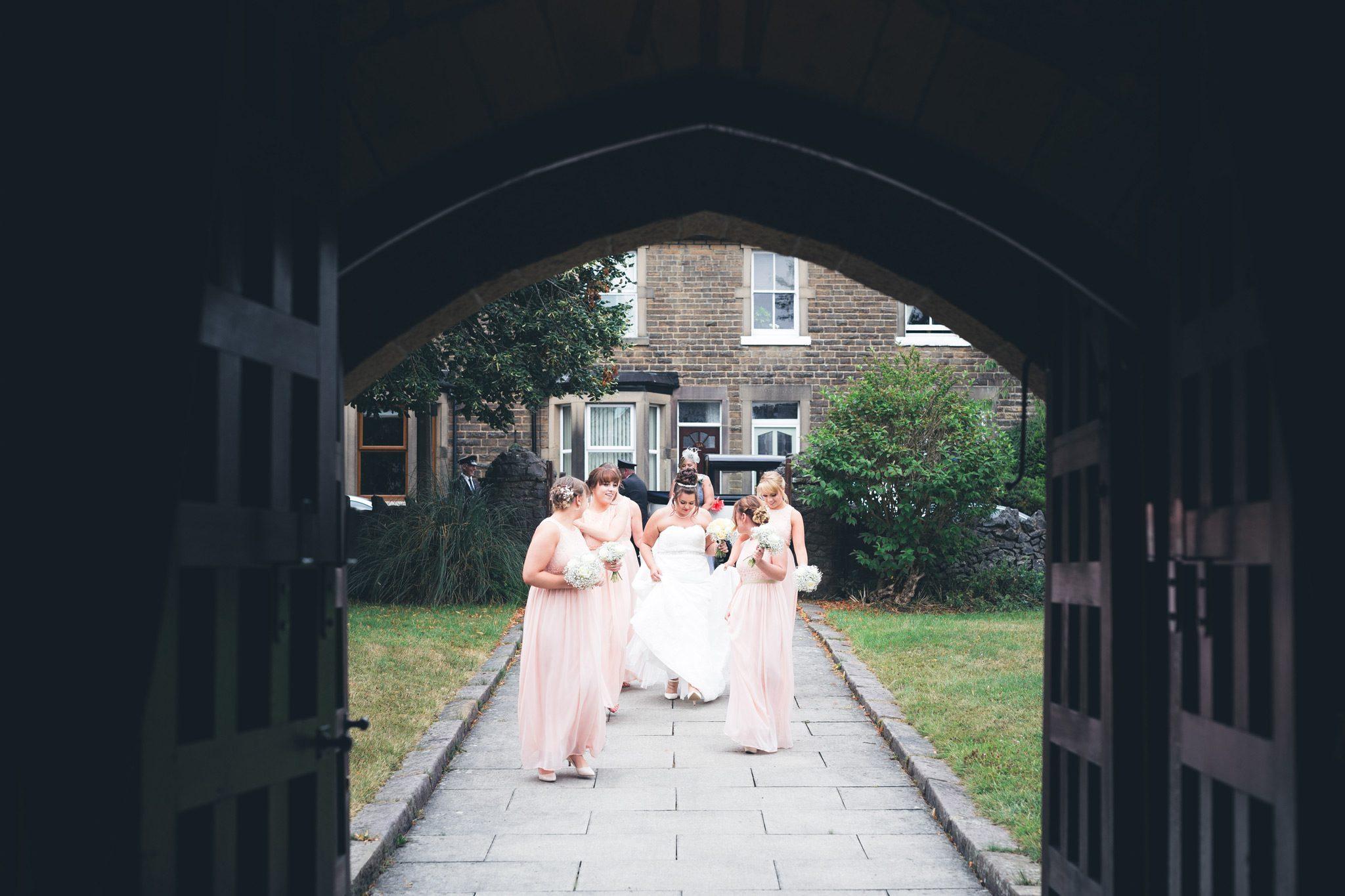 Bridal party at the buxton church