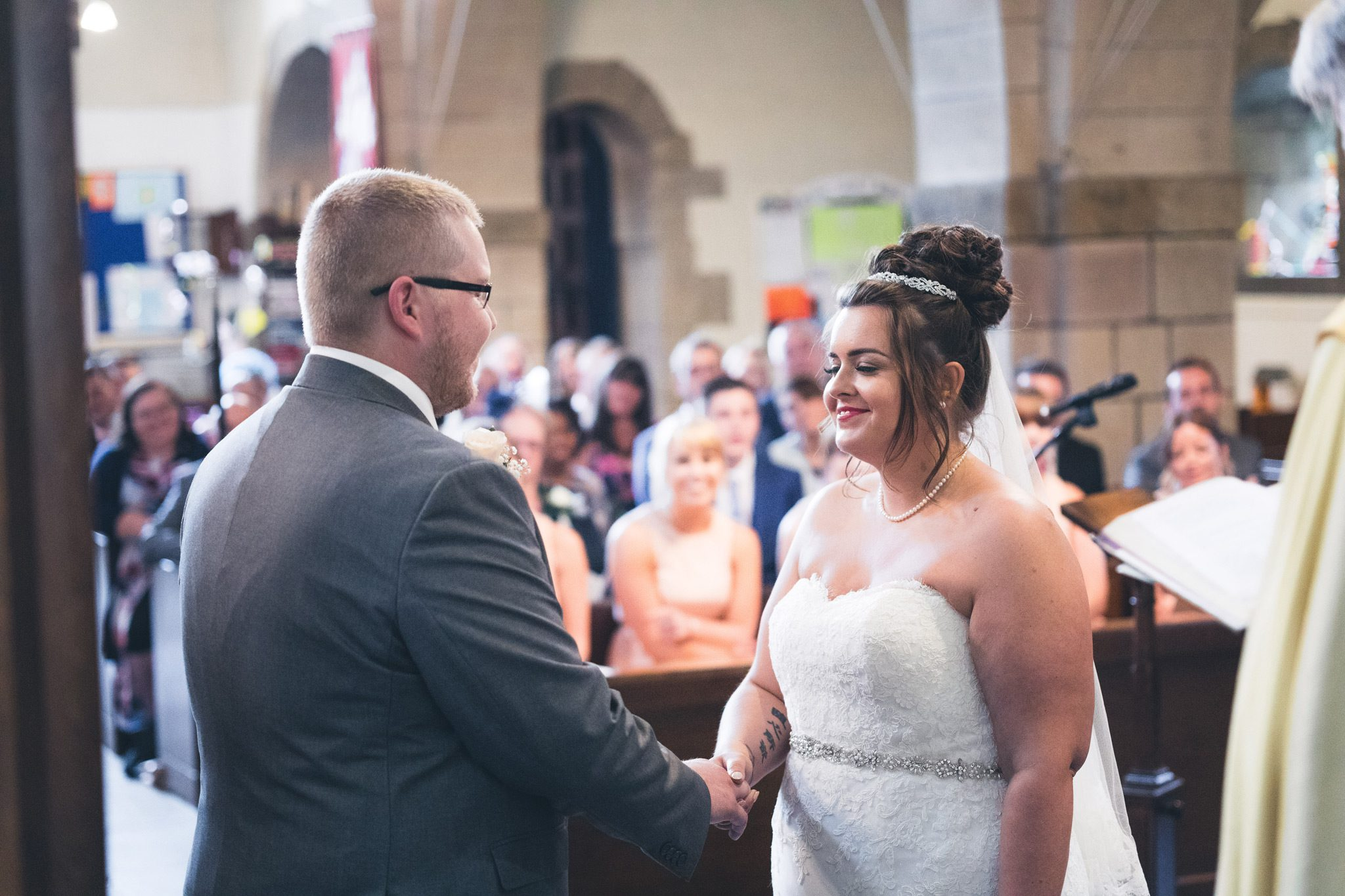 Bride and groom in buxton church