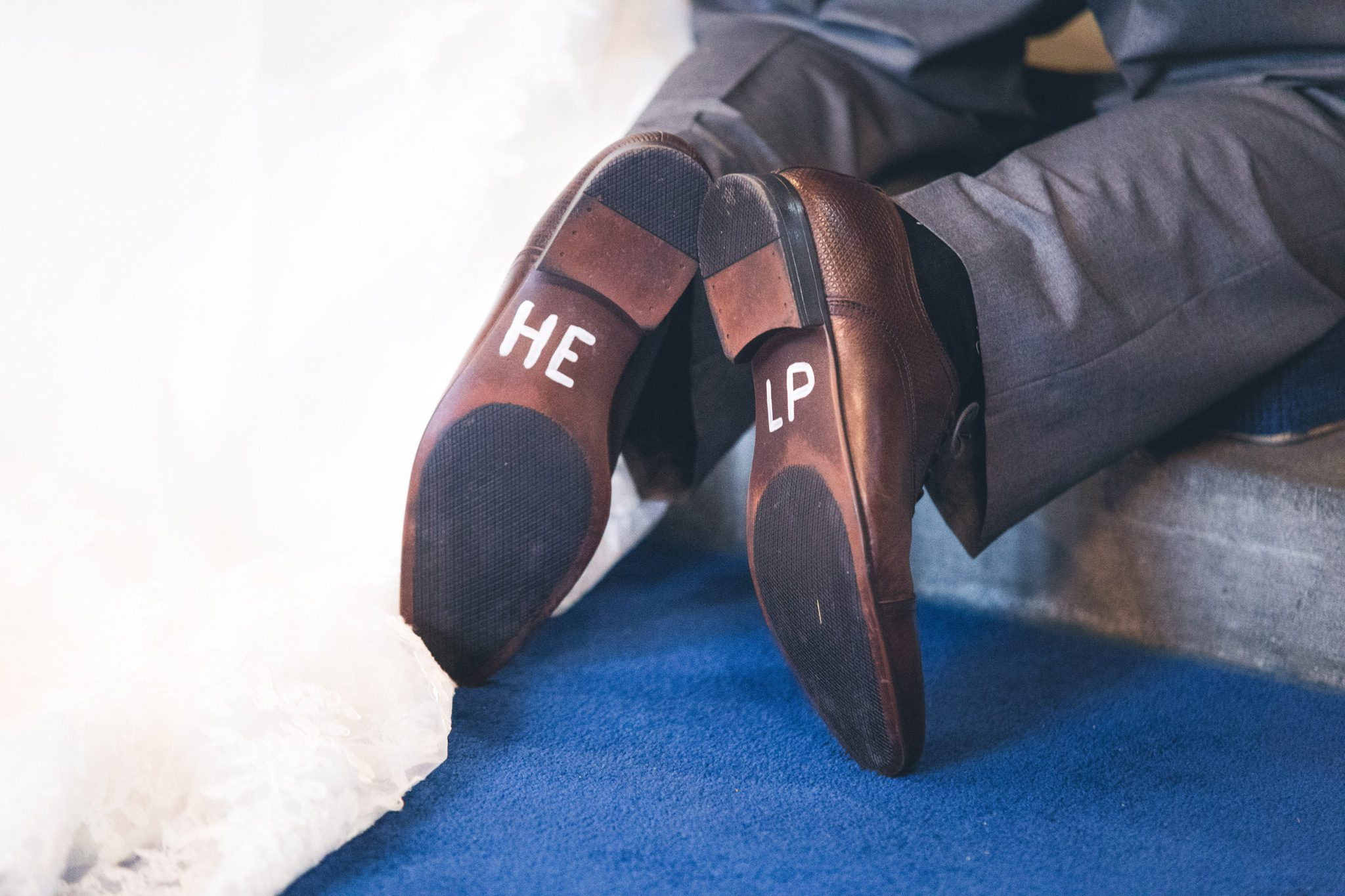 Grooms Shoes in church